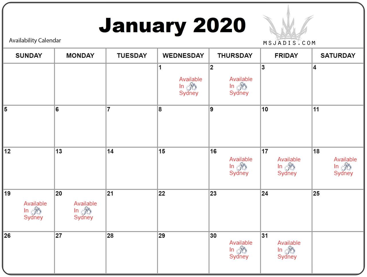 Mistress Jadis January Availability